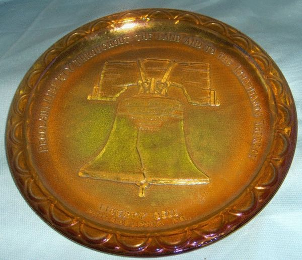 DECORATIVE GLASS PLATE - Vintage Patriotic Amber Liberty Bell Plate INDIANA GLASS