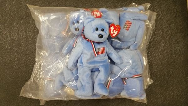 AMERICA the Blue Bear Beanie Baby - Ty