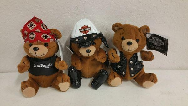 Harley Davidson Bean Bag Plushie Bears - Set of (3)