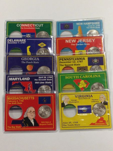 State Quarter Protector, SET OF 10 STATES *Each State Includes one BU (Brilliant Uncirculated) Quarter*
