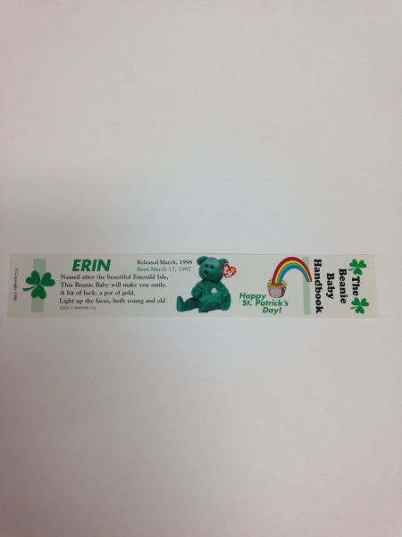 ERIN the ST. PATRICK'S DAY Bear Beanie Baby Bookmark