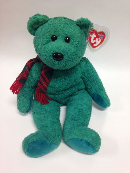 "Beanie Buddy *WALLACE* the Green Bear w/ Scarf 14"" - Ty"