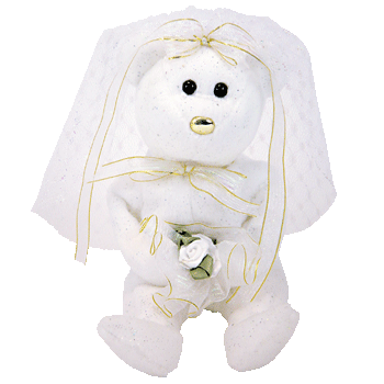 HERS BRIDE WEDDING (White with Gold Nose) Bear Beanie Baby - Ty