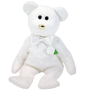 HIS GROOM WEDDING (White with Gold Nose) Bear Beanie Baby - Ty