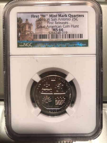 2019 W NGC MS66 FIRST RELEASES TEXAS SAN ANTONIO MISSIONS QUARTER