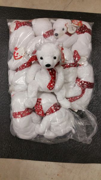 2000 HOLIDAY BEAR (White with Red Tie) CHRISTMAS Beanie Baby - Ty