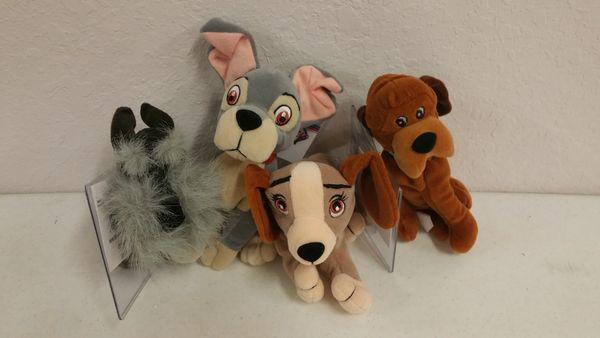 LADY & THE TRAMP 4 PC. SET (Jock the dog, Lady & the Tramp, and Trusty the dog) Mini Bean Bag - Disney