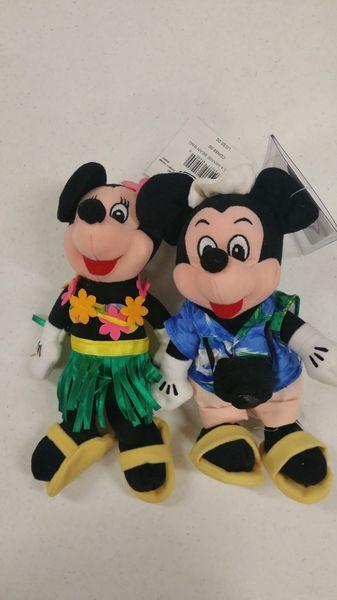 MICKIE & MINNIE MOUSE HAWAII SET (Tourist Mickey & Hula Minnie) Mini Bean Bag - Disney