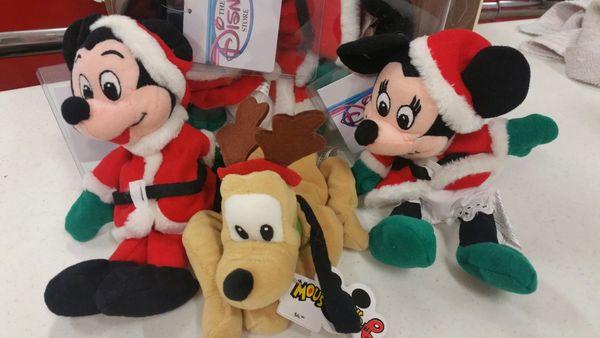 MICKEY & MINNIE MOUSE 3 pc CHRISTMAS Set (Mickey, Minnie, Pluto) Mini Bean Bag - Disney