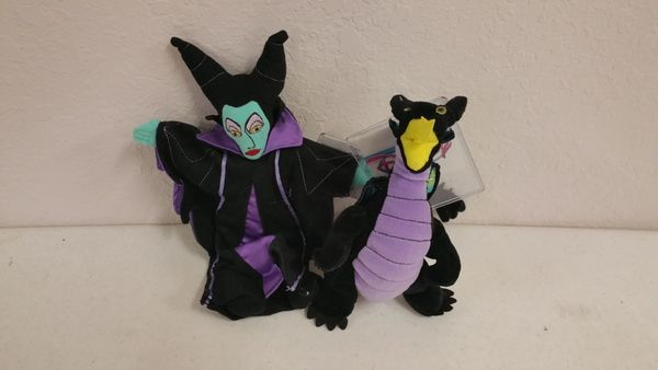 MALEFICENT & DRAGON 2 pc set (Sleeping Beauty) Mini Bean Bag - Disney