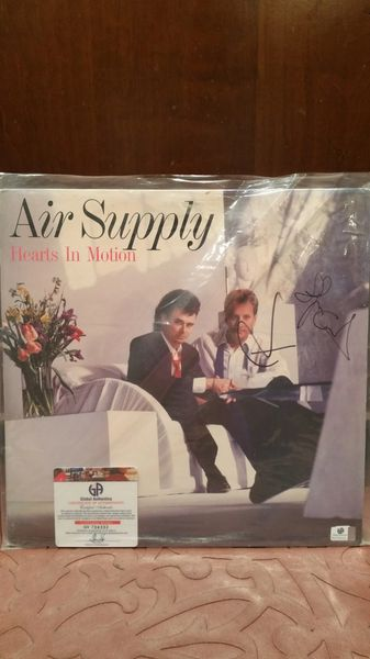 Air Supply **HEARTS IN MOTION** Signed & Certified LP Cover with vinyl record - signed by: Graham Russell, Russell Hitchcock - GA (Global Authentics) Certification # GV704332