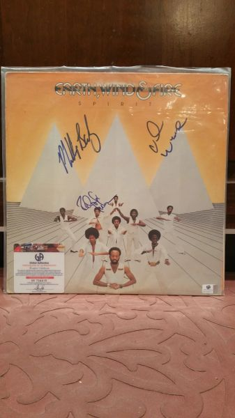 Earth, Wind & Fire **SPIRIT** Signed & Certified LP Cover with vinyl record - GV704910 - signed by: Philip Bailey, Ralph Johnson, Verdine White