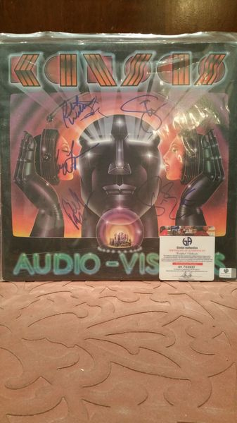 Kansas **AUDIO-VISIONS** Signed & Certified LP Cover with vinyl record - GV704932 - signed by: Steve Walsh, Kerry Livgren, Phil Ehart, Billy Greer, Richard Williams