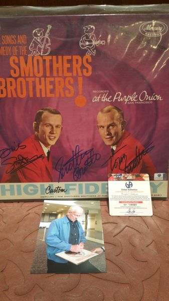 Smothers Brothers **AT THE PURPLE ONION** Signed & Certified LP Cover with vinyl record - GV704880 - signed by: Dick Smothers, Tom Smothers