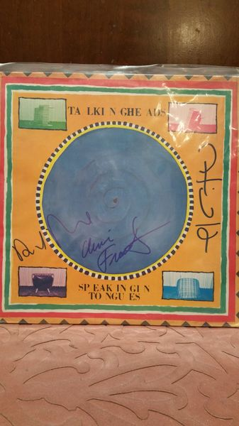 Talking Heads **SPEAKING IN TONGUES** Signed & Certified LP Cover with vinyl record - GV586097 - signed by: David Byrne, Chris Frantz, Tina Weymouth