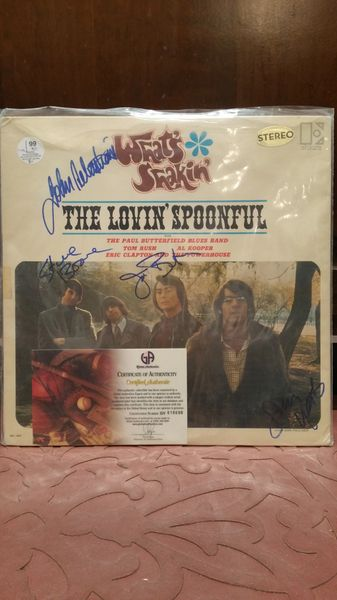 The Lovin' Spoonful **WHAT'S SHAKIN'** Signed & Certified LP Cover with vinyl record - GV618690 - signed by: John Sebastian, Joe Butler, Steve Boone, Jerry Yester