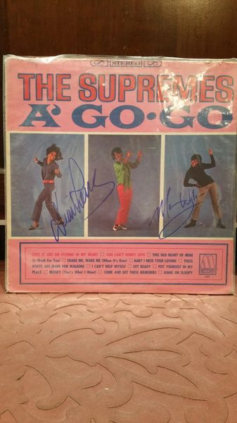 The Supremes **A' GO-GO** Signed & Certified LP Cover with vinyl record - GV591201 - signed by: Diana Ross, Mary Wilson