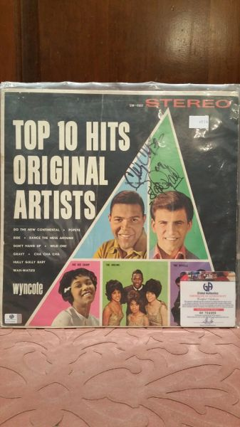 Chubby Checker, Bobby Rydell **TOP 10 HITS BY ORIGINAL ARTISTS** Signed & Certified LP Cover with vinyl record - GV704956
