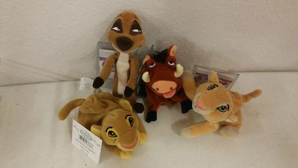 SIMBA, TIMON, PUMBAA, NALA (The Lion King) 4 PC. SET Mini Bean Bag - Disney