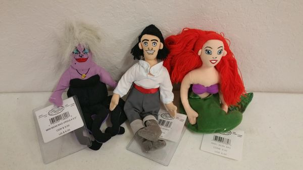 ARIEL 3 PC. SET (Ursula, Eric, Ariel) Mini Bean Bag - Disney