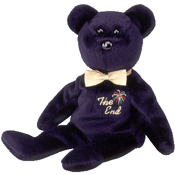 THE END Black Bear Beanie Baby - Ty