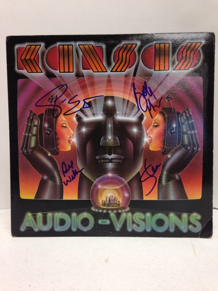 Kansas **AUDIO-VISIONS** Signed & Certified LP Cover with vinyl record - GV630880 - signed by: Steve Walsh, Phil Ehart, Billy Greer, Richard Williams