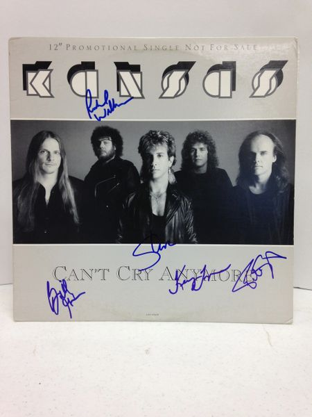Kansas **CAN'T CRY ANYMORE** Signed & Certified LP Cover with vinyl record - GV546191 - signed by: Steve Walsh, Phil Ehart, Kerry Livgren, Richard Williams, Billy Greer