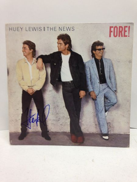 Huey Lewis and the News **FORE!** Signed & Certified LP Cover with vinyl record - GV562520 - signed by: Huey Lewis