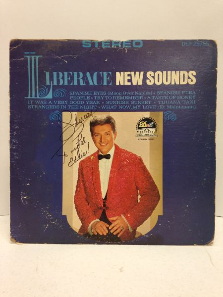 Liberace **NEW SOUNDS** Signed & Certified LP Cover (FRONT SIDE OF COVER ONLY, NO BACK COVER, NO VINYL RECORD) - GV528442 - signed by: Liberace