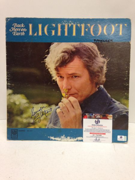 Gordon Lightfoot **BACK HERE ON EARTH** Signed & Certified LP Cover with Vinyl Record - GV704388