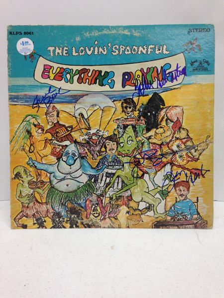 The Lovin' Spoonful **EVERYTHING PLAYING'** Signed & Certified LP Cover with vinyl record - GV591087 - signed by: John Sebastian, Joe Butler, Steve Boone, Jerry Yester