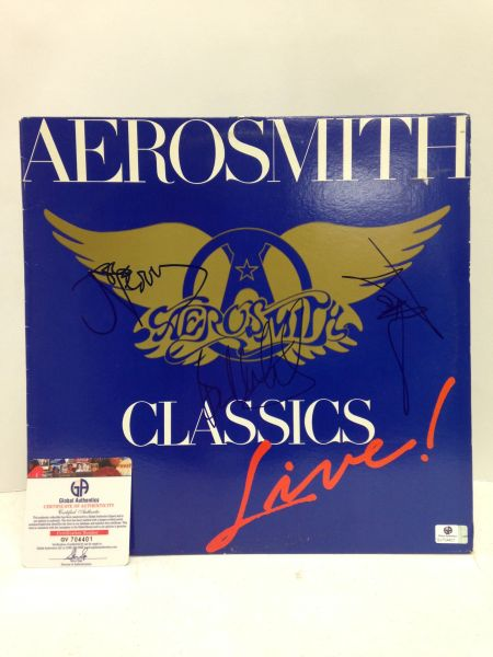 Aerosmith **CLASSICS LIVE** Signed & Certified LP COVER ONLY - no vinyl record - signed by: Steven Tyler, Joe Perry, Tom Hamilton, Joey Kramer, Brad Whitford - GA (Global Authentics) Certification # GV704401