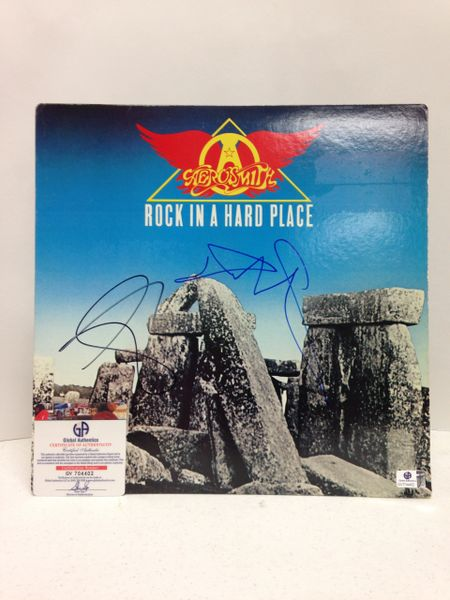 Aerosmith **ROCK IN A HARD PLACE** Signed & Certified LP cover with vinyl record - signed by: Steven Tyler, Tom Hamilton - GA (Global Authentics) Certification # GV704402