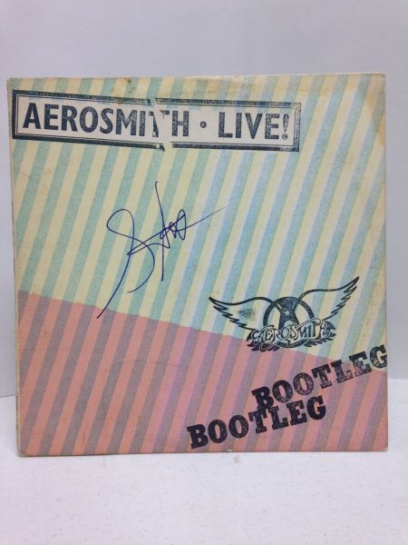 Aerosmith LIVE **BOOTLEG** 2 Record Set - Signed & Certified LP cover with vinyl records - signed by: Steven Tyler - GA (Global Authentics) Certification # GV580281
