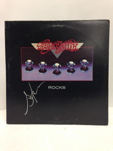 Aerosmith **ROCKS** Signed & Certified LP cover with vinyl record - signed by: Steven Tyler - GA (Global Authentics) Certification # GV580283