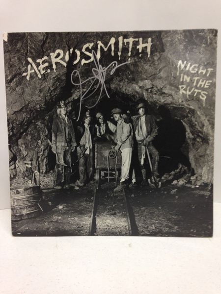 Aerosmith **NIGHT IN THE RUTS** Signed & Certified LP COVER ONLY - no vinyl record - signed by: Steven Tyler - GA (Global Authentics) Certification # GV580282