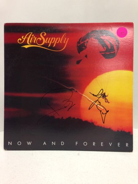 Air Supply **NOW AND FOREVER** Signed & Certified LP Cover with vinyl record - signed by: Graham Russell, Russell Hitchcock - GA (Global Authentics) Certification # GV562511