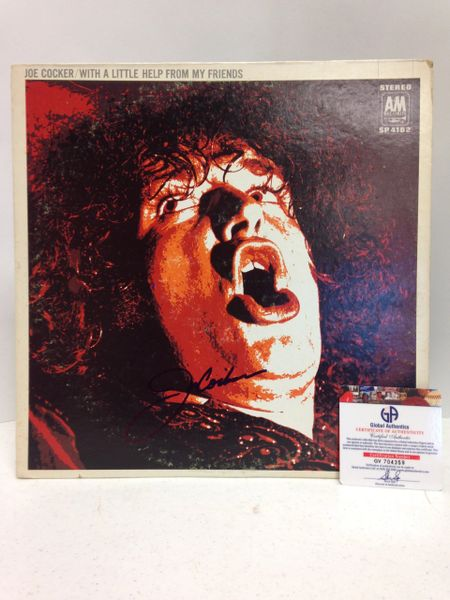 Joe Cocker **WITH A LITTLE HELP FROM MY FRIENDS** Signed & Certified LP Cover with vinyl record - GV704359