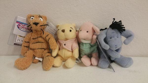POOH BEAR 4 PC. SET (Tigger, Pooh, Piglet, Eeyore) Mini Bean Bag - Disney
