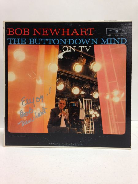Bob Newhart **THE BUTTON-DOWN MIND ON TV** Signed & Certified LP Cover with vinyl record - GV591172