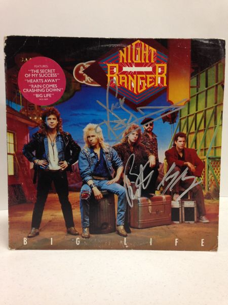 Night Ranger **BIG LIFE** Signed & Certified LP Cover with vinyl record - GV562824 - signed by: Kelly Keagy, Jack Blades, Brad Gillis