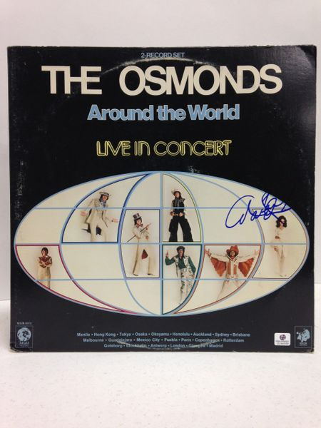 The Osmonds **AROUND THE WORLD, LIVE IN CONCERT** Signed & Certified LP Cover with vinyl record - GV546958 - signed by: Marie Osmond