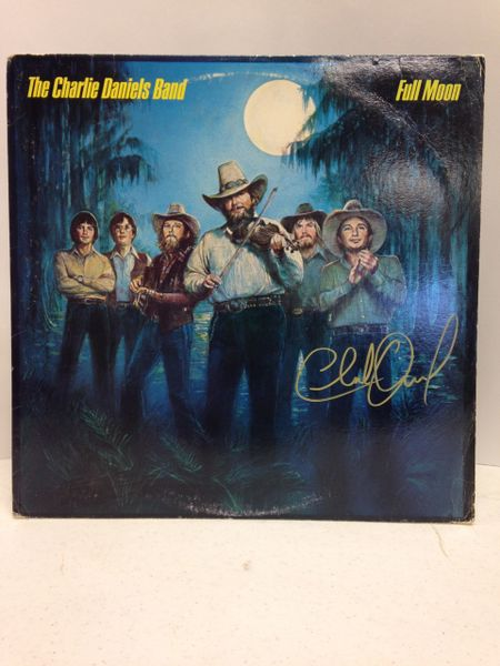 The Charlie Daniels Band **FULL MOON** Signed & Certified LP Cover with vinyl record - GV562818 - signed by: Charlie Daniels