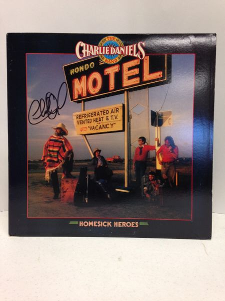 The Charlie Daniels Band **HOMESICK HEROES** Signed & Certified LP Cover with vinyl record - GV562553 - signed by: Charlie Daniels