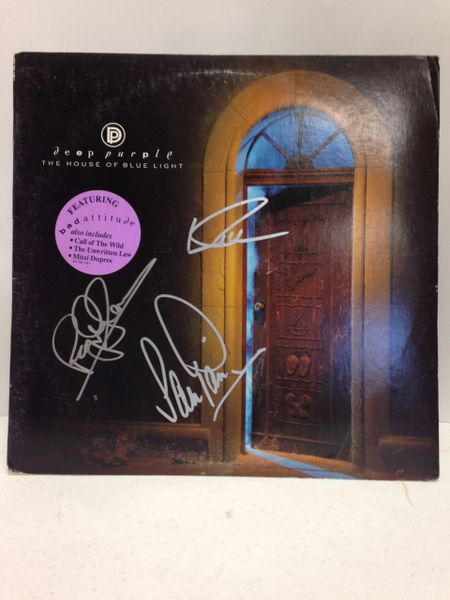 Deep Purple **THE HOUSE OF BLUE LIGHT** Signed & Certified LP Cover with vinyl record - GV630846 - signed by: Ian Gillan, Roger Glover, Ian Paice