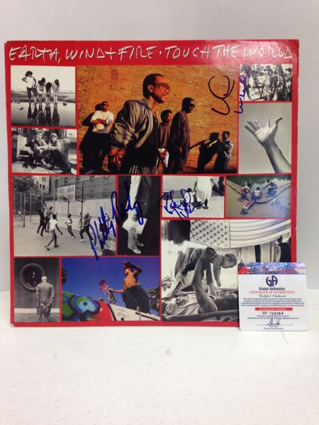 Earth, Wind & Fire **TOUCH THE WORLD** Signed & Certified LP Cover with vinyl record - GV704364 - signed by: Verdine White, Philip Bailey, Ralph Johnson