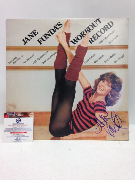 Jane Fonda **JANE FONDA'S WORKOUT RECORD** (Various Artists) Two Record Set - Signed & Certified LP Cover with vinyl records - GV704393