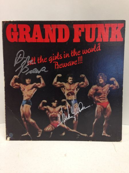 Grand Funk **ALL THE GIRLS IN THE WORLD BEWARE!!!** Signed & Certified LP COVER ONLY - no vinyl record - GV528396 - signed by: Don Brewer, Mark Farner