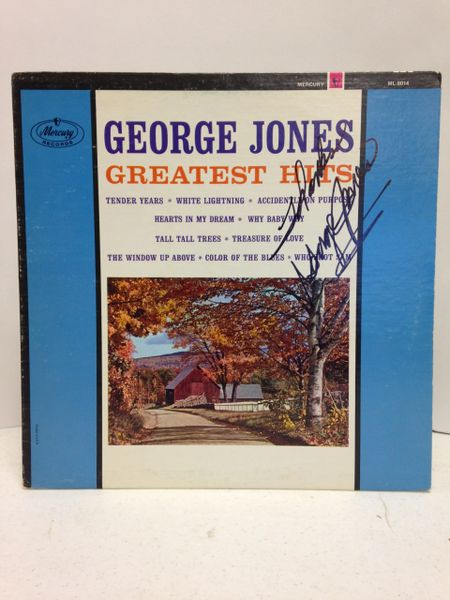 George Jones **GREATEST HITS** Signed & Certified LP Cover with vinyl record - GV525055