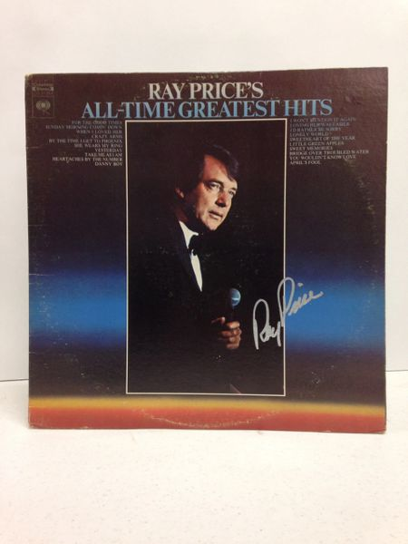 Ray Price **ALL-TIME GREATEST HITS** Two Record Set - Signed & Certified LP Cover with vinyl records - GV591094